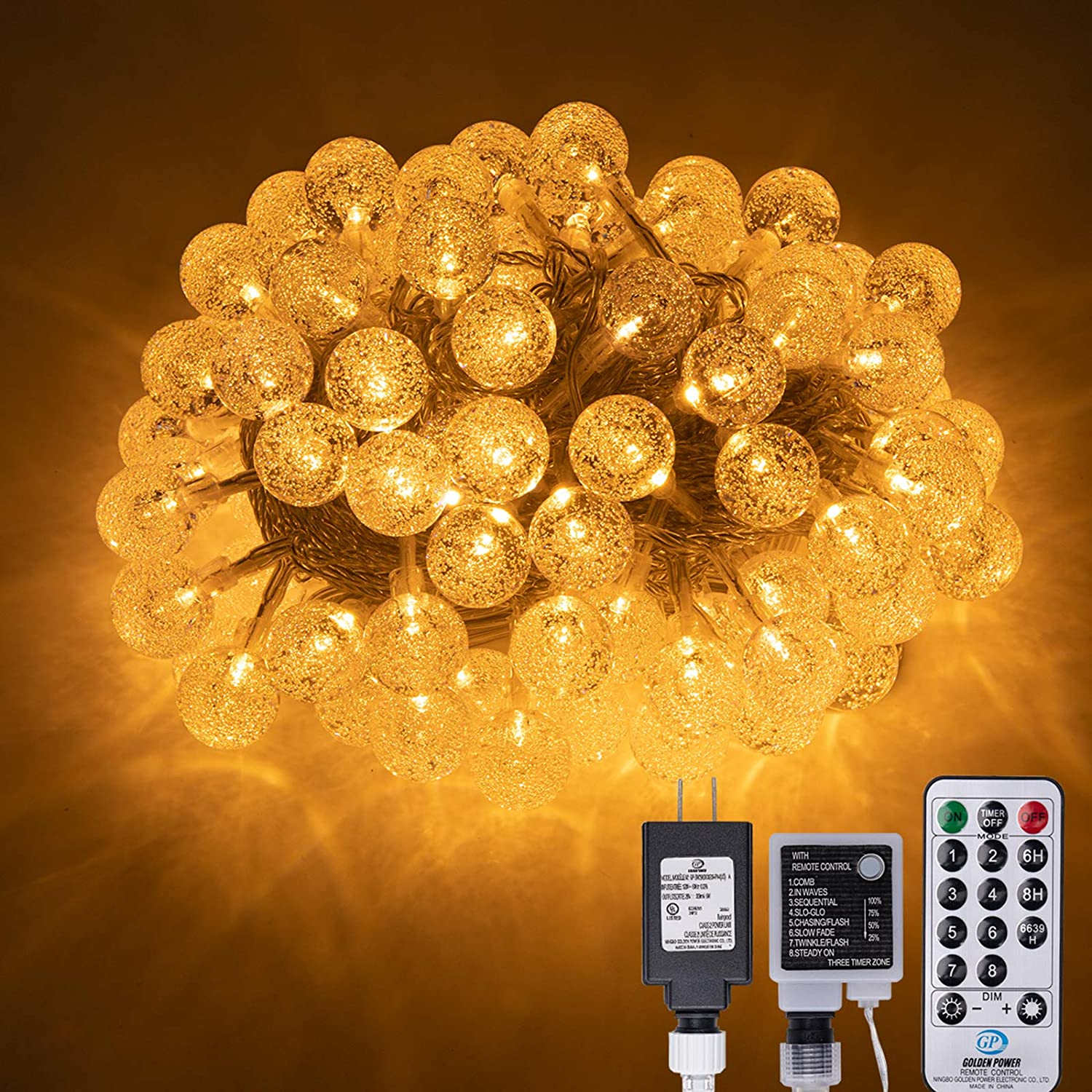 AWQ 100 LED 49 FT Globe Ball String Lights Crystal Bubble Ball Fairy String Lights Plug in with Remote 8 Modes Extendable for Indoor Outdoor Wedding Christmas Tree Garden Decor (Warm White)