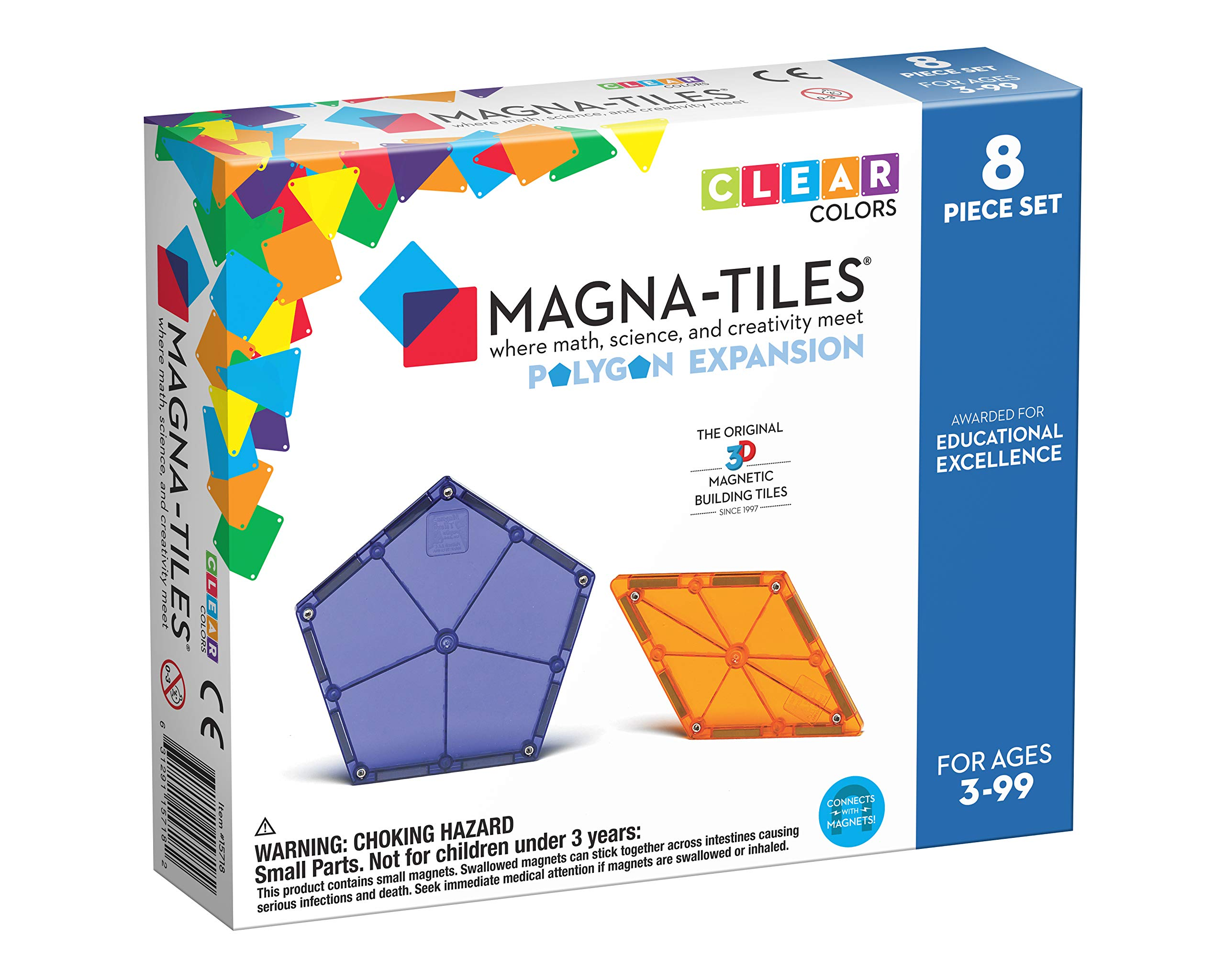 Magna Tiles Polygons Expansion Set, The Original Magnetic Building Tiles for Creative Open-Ended Play, Educational Toys for Children Ages 3 Years + (8 Pieces) (15718)