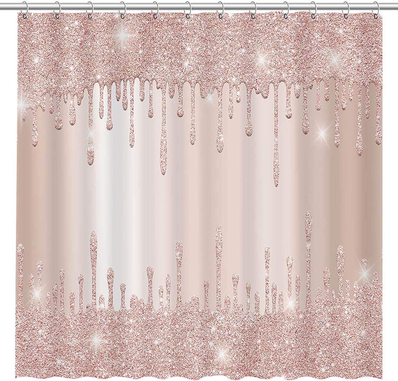 Allenjoy (NO Sparkles Not Glitter) Rose Gold Pink Blush Printed Shower Curtain Sweet Girls Bathroom Fabric Decor Bathtub Showers Decor with 12 Hooks, 72x72 Inch