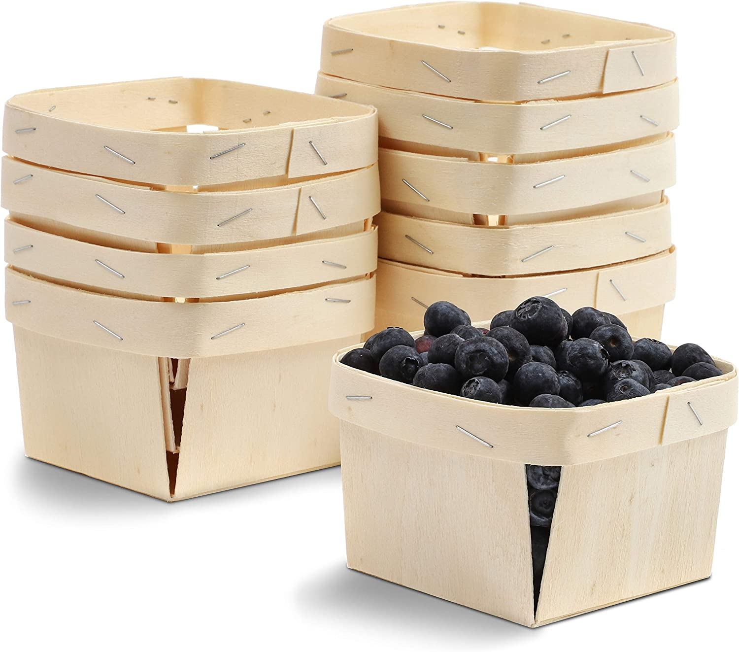 One Pint Wooden Berry Baskets (4 Inches, 10-Pack)