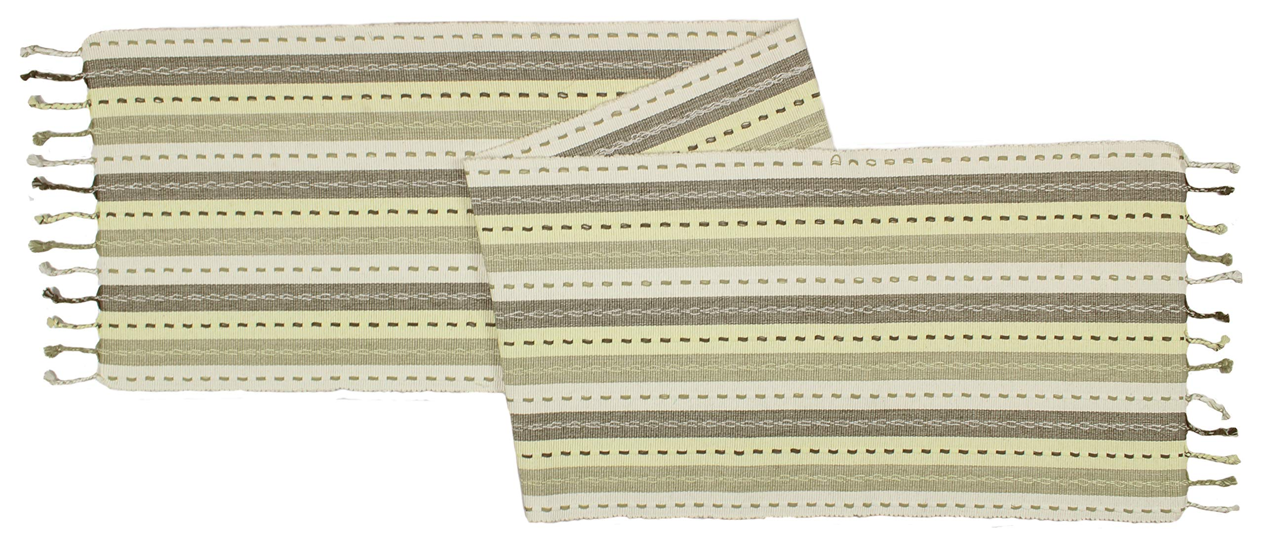Cotton Craft - Salsa Stripe Hand Knotted Fringe Table Runner - 14x72 - Natural Light Olive - 100% Cotton - Hand Woven by Skilled artisans - Unique Hand Knotted Decorative Fringe