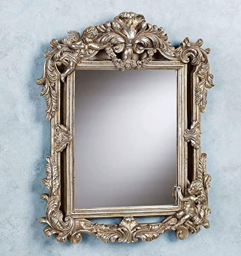 Touch of Class Ornate Cherub Wall Mirror Acanthus Leaf Home Decor Champagne Gold Finish Antique