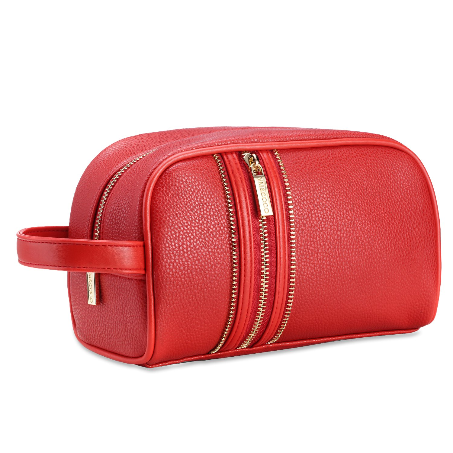 Leather Makeup Bag, Womens Small Bag Makeup Kit Handy Makeup Brush Pouch Case Red