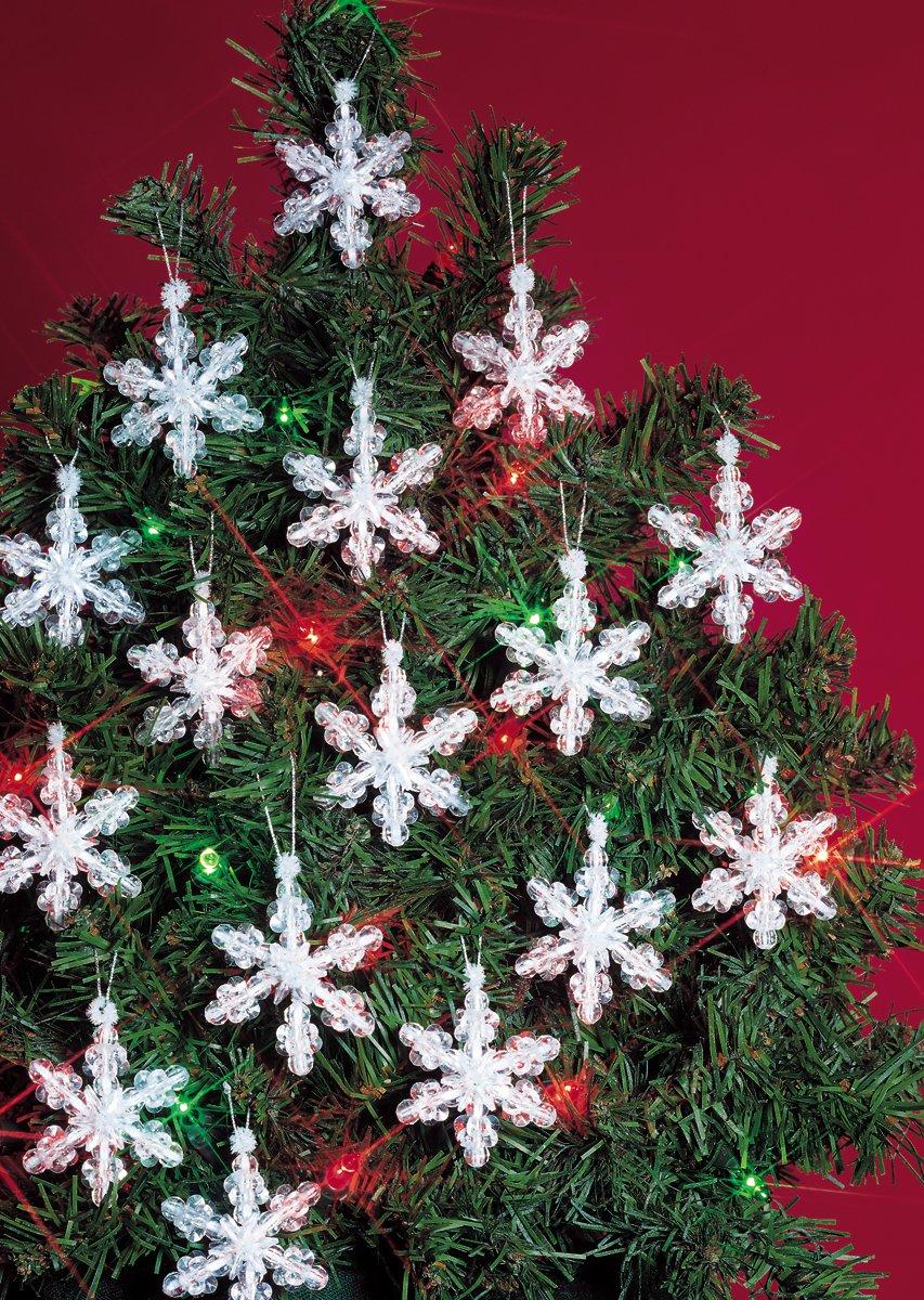 Darice Beadery Holiday Beaded Ornament Kit, 2, Mini Snowflakes, Makes 24 Ornaments 2 BOK-5500
