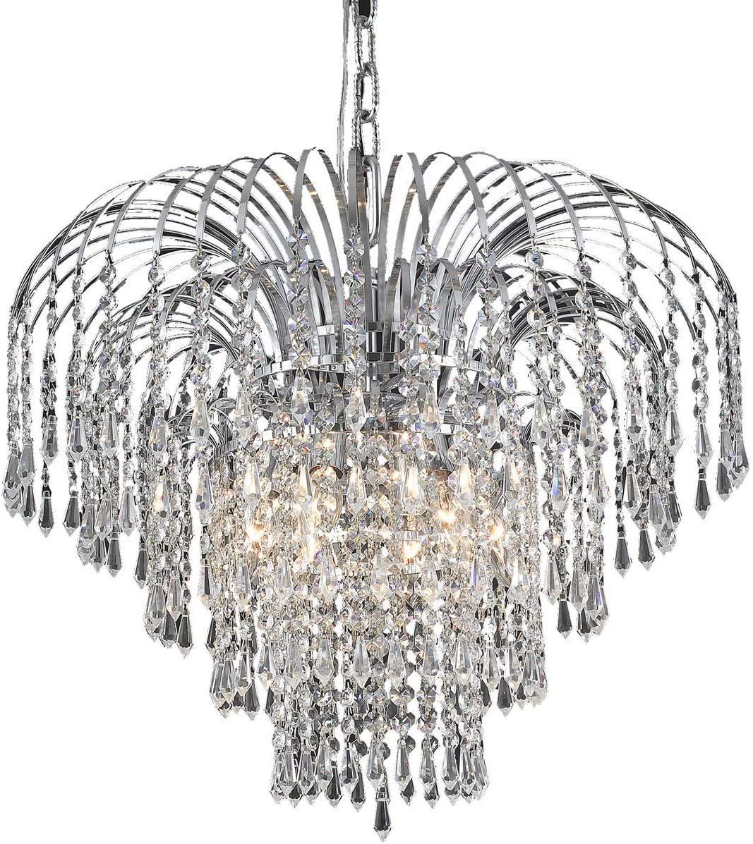 Elegant Lighting 6801D21C RC Royal Cut Clear Crystal Falls 6-Light, Four-Tier Crystal Chandelier, 21 x 18 , Chrome Finish
