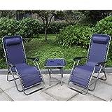 Marko Outdoor Zero Gravity Textoline Sun Lounger Set Steel Frame Reclining Chairs Table Garden (Blue)