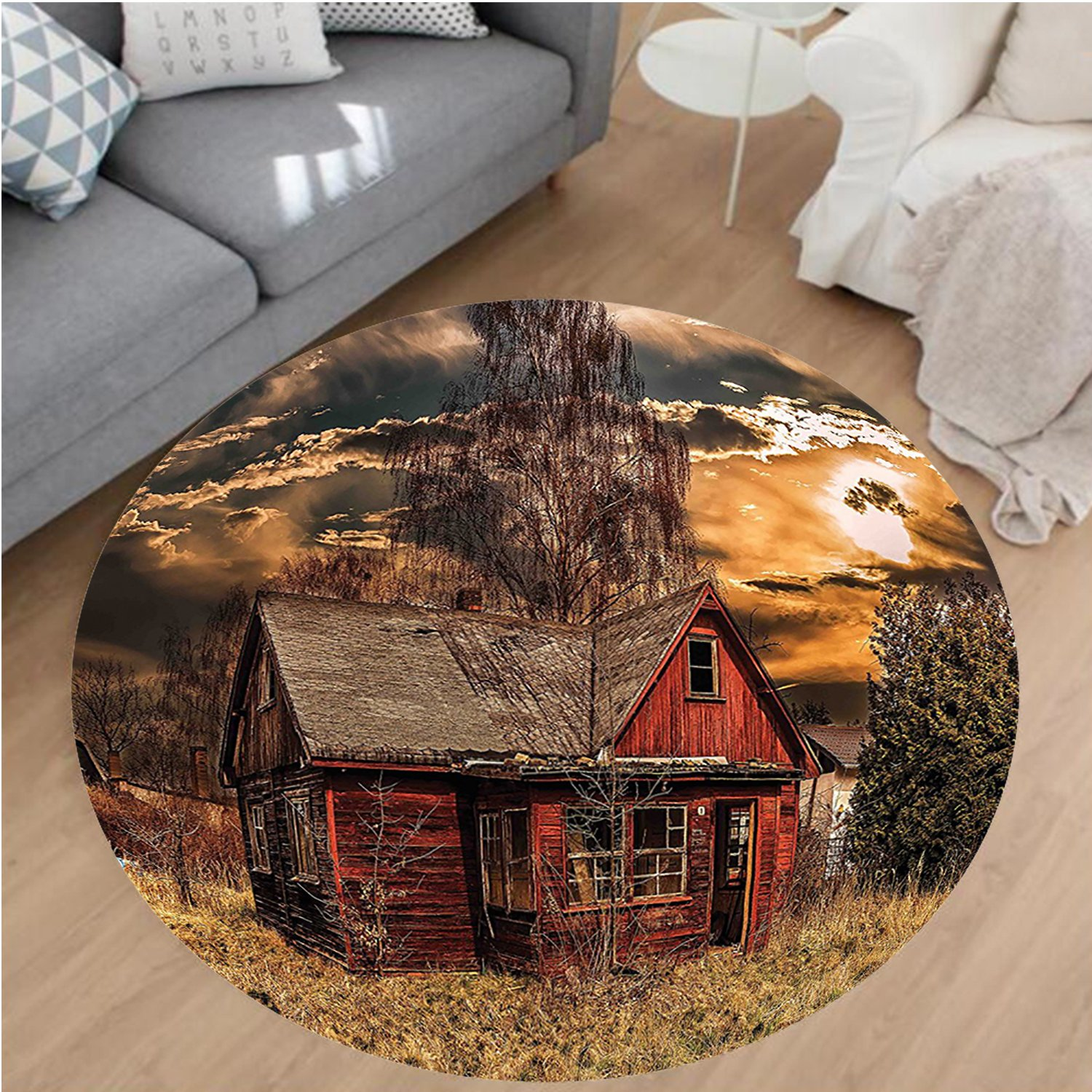 Nalahome Modern Flannel Microfiber Non-Slip Machine Washable Round Area Rug-or Scary Horror Movie Themed Abandoned House in Pale Grass Garden Sunset Photo Multicolor area rugs Home Decor-Round 79''