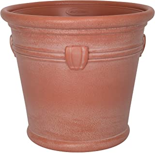 """product image for Suncast 18"""" Waterton Resin Flower Planter Pot - Contemporary Weather-Resistant Weathered Terracotta Flower Pot for Indoor and Outdoor Use, Home, Yard, or Garden"""