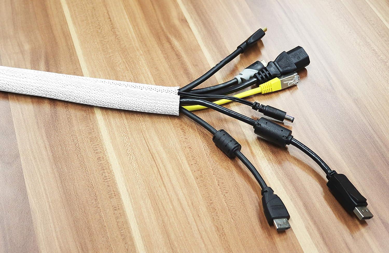 Goulotte Electrique Range Cable Longueur: 2m Passe Cable Couleur Blanc RICOO Cache-Cable TV en Polyester avec Fermeture Scratch Z9135W-2 Rangement Cable Passe Fil Attache Cable