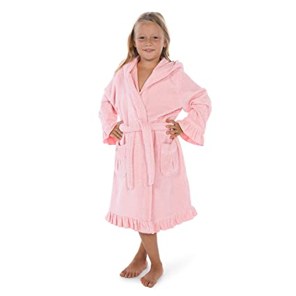 c1bd47a8cc Buy Linum Kids Luxury Children s Hooded Bathrobe with Ruffle 100% Premium  Turkish Terry Cotton Robe
