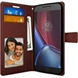 FOSO(™) [ Moto G4 Plus ] [ Moto G4 ] High Quality PU Leather Magnetic Flip Cover Wallet Case (Brown)