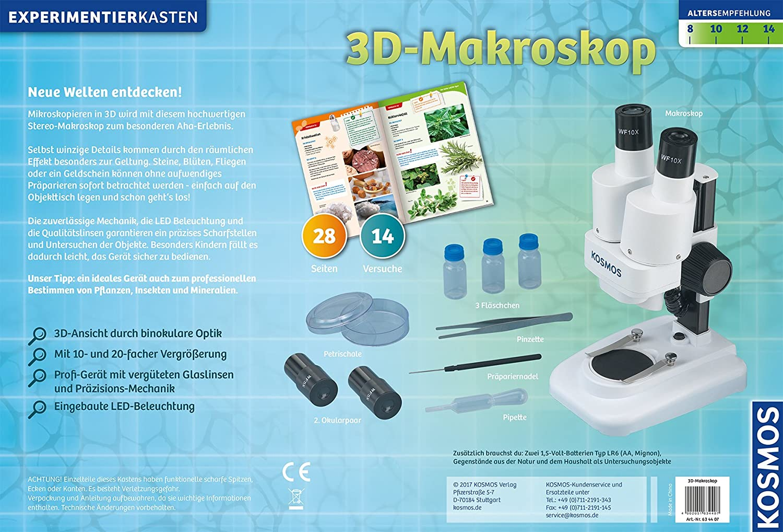3D-Makroskop – Objekte heranzoomen und staunen, Experimentierkasten KOSMOS 634407 empfohlenes Alter: ab 8 Jahre Experimentierkästen