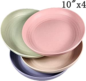 "Wheat Straw Plastic Plates Dinnerware Set/Reusable-Unbreakable Dinner Plate/ Dishwasher & Microwave Safe, BPA Free And Healthy Cereal Dishes/Kids-toddler & Adult. (Extra Large 10"")"