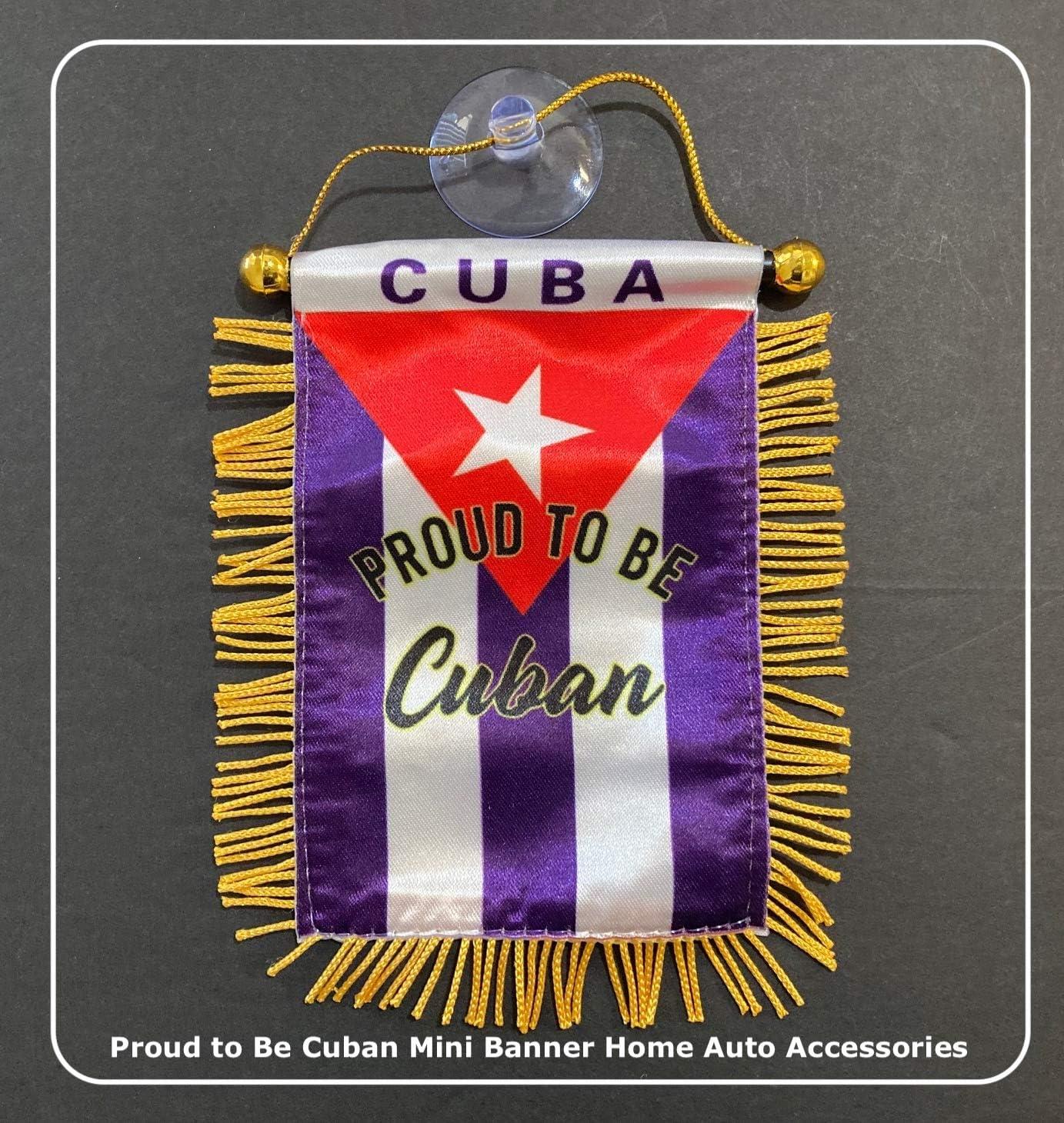 Prk 14 Kubanische Flagge Für Auto Kuba Aufkleber Klein Zum Aufhängen Für Rückspiegel Auto Zubehör Montage An Glasfenster Innendekoration Hochwertige Mini Banner Garten