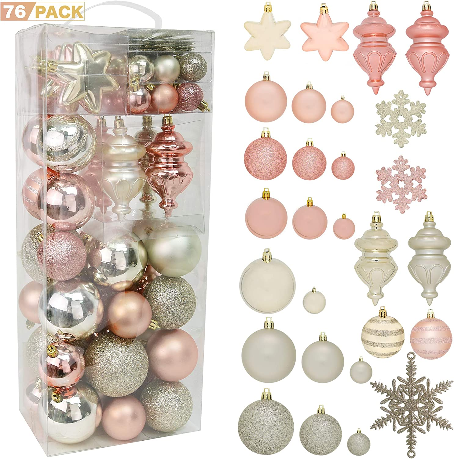 RN'D Christmas Snowflake Ball Ornaments - Christmas Hanging Snowflake and Ball Ornament Assortment Set with Hooks - 76 Ornaments and Hooks (Yellow & Rose Gold)