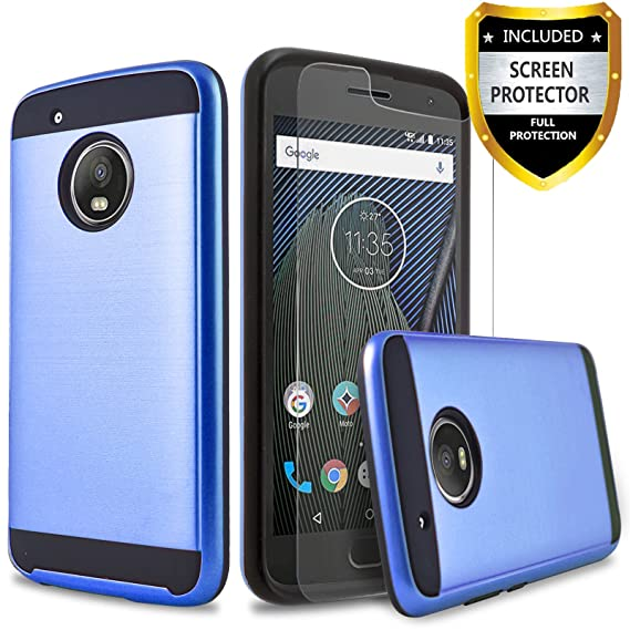 brand new bfc2c 01eca Moto E4 Plus Case, Circlemalls 2-Piece Style Hybrid Shockproof Case with  [HD Screen Protector] and Touch Screen Pen (Blue)