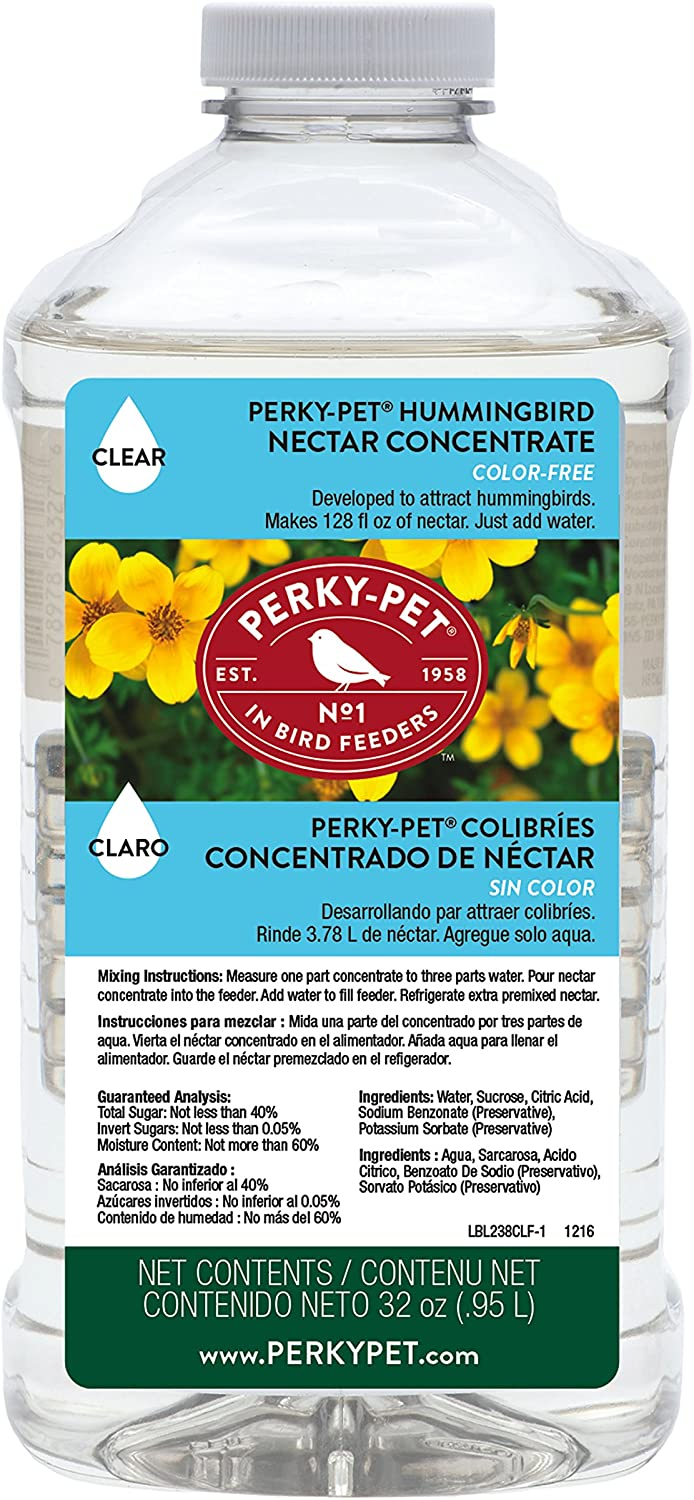 Perky-Pet 238CL Clear Hummingbird Nectar 32 oz Concentrate – Makes 128 fl oz