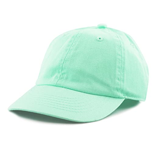 82665e87afd The Hat Depot Kids Washed Low Profile Cotton and Denim Baseball Cap (Aqua)