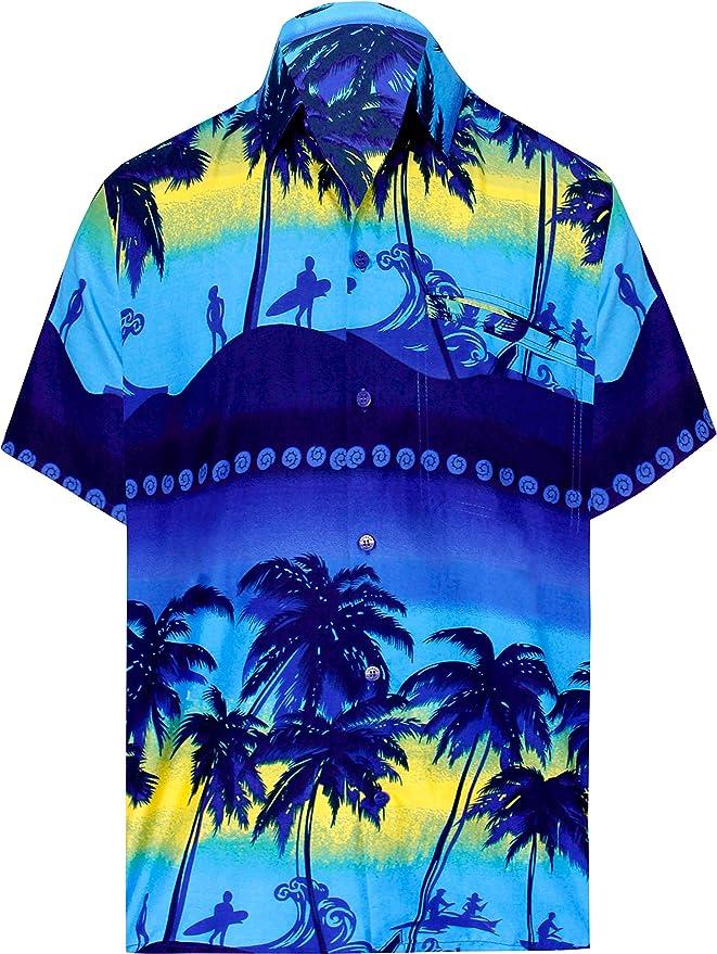 LA LEELA Casual Hawaiana Camisa para Hombre Señore Manga Corta Bolsillo Delantero Surf Palmera Caballero Playa Aloha 5XL(cms):167-172 Azul Marino_W349: Amazon.es: Ropa y accesorios