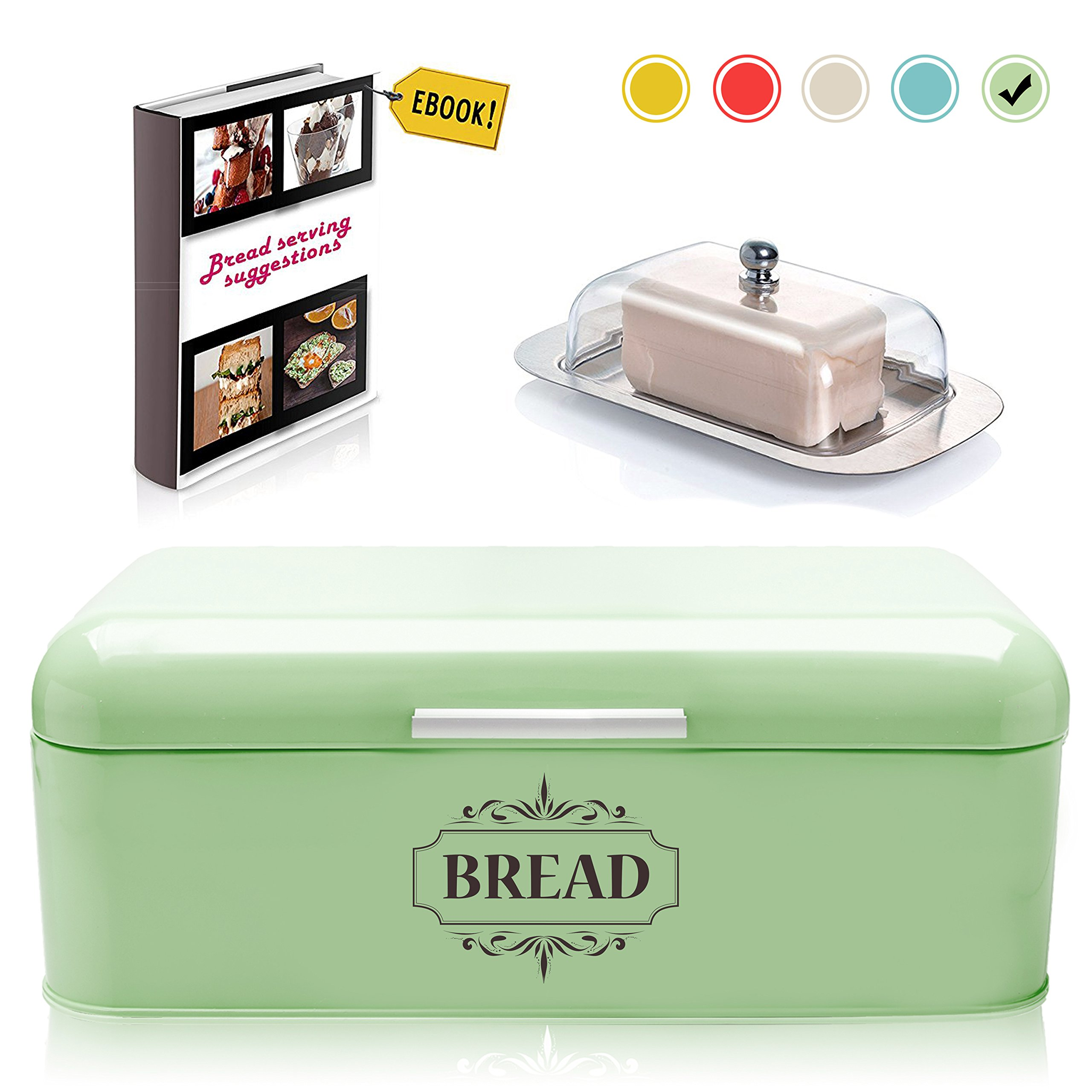 Vintage Bread Box For Kitchen Stainless Steel Metal in Retro Green + FREE Butter Dish + FREE Bread Serving Suggestions eBook 16.5'' x 9'' x 6.5'' Large Bread Bin storage by All-Green Products