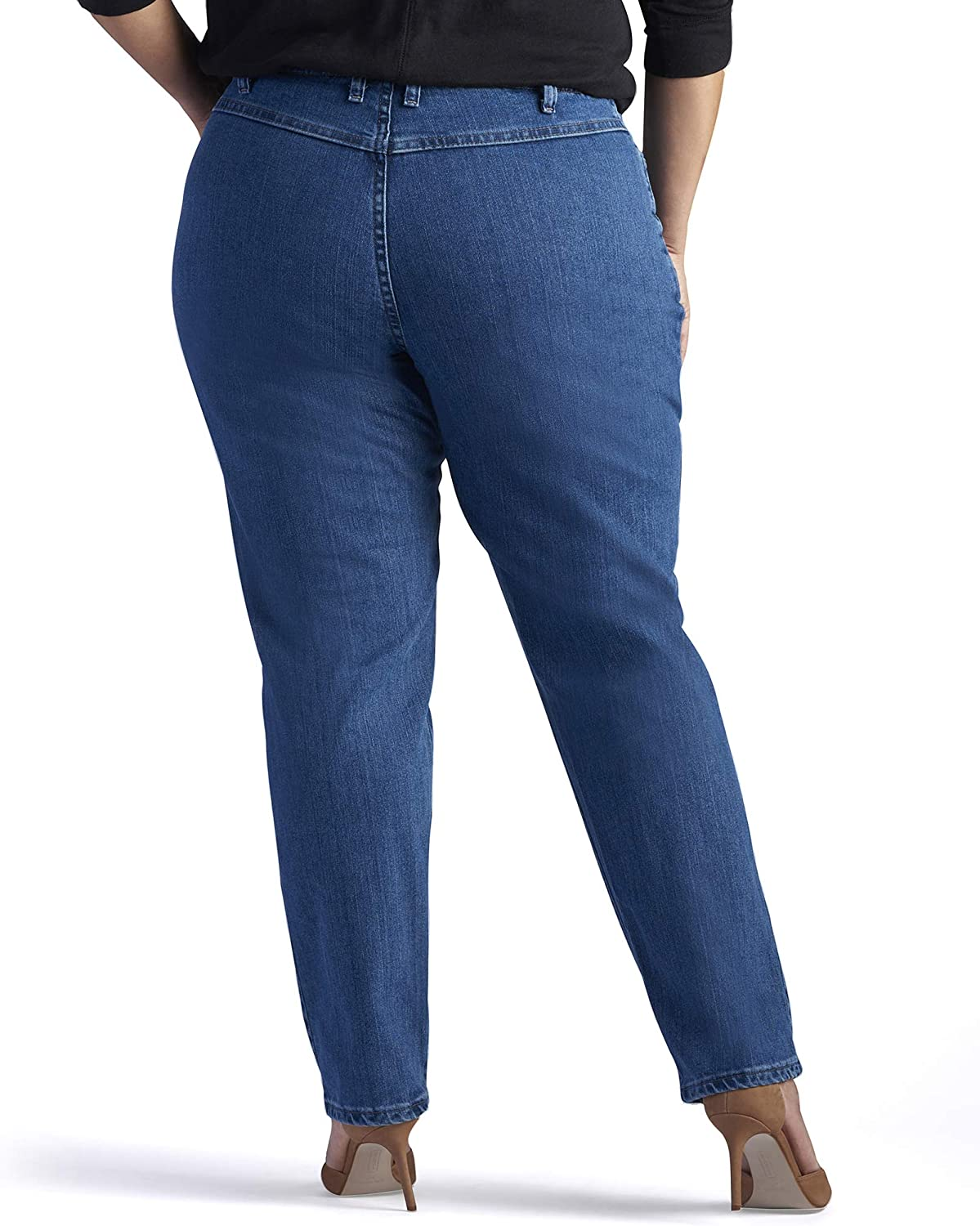 Lee Womens Plus Size Relaxed-fit Elastic-Waist Jean