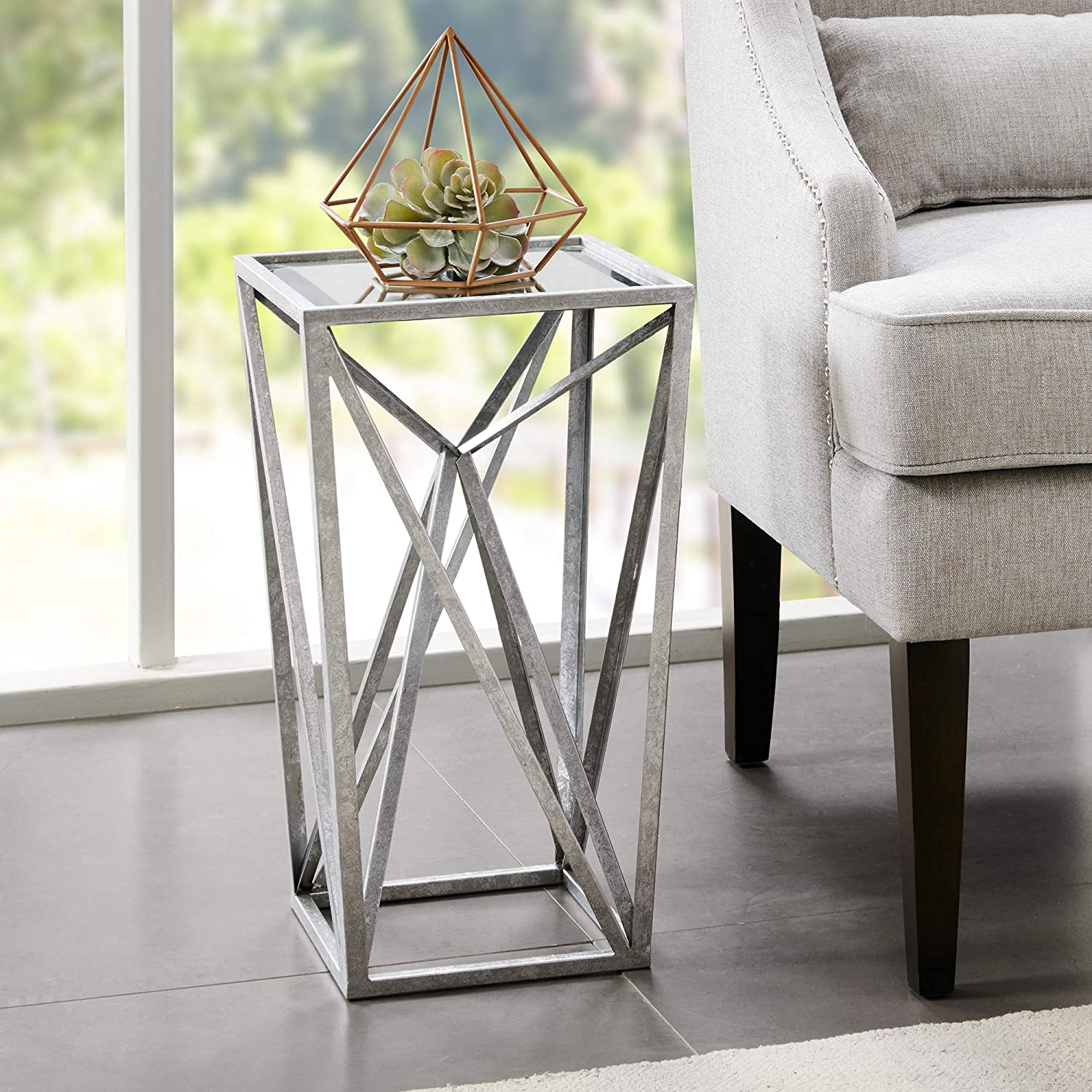 - Amazon.com: Madison Park Zee Accent Tables For Living Room, Glass Top  Hollow, Small Metal Frame Geometric Angular Design Luxe Modern Stylish  Nightstand Bedroom Furniture, Silver: Home & Kitchen
