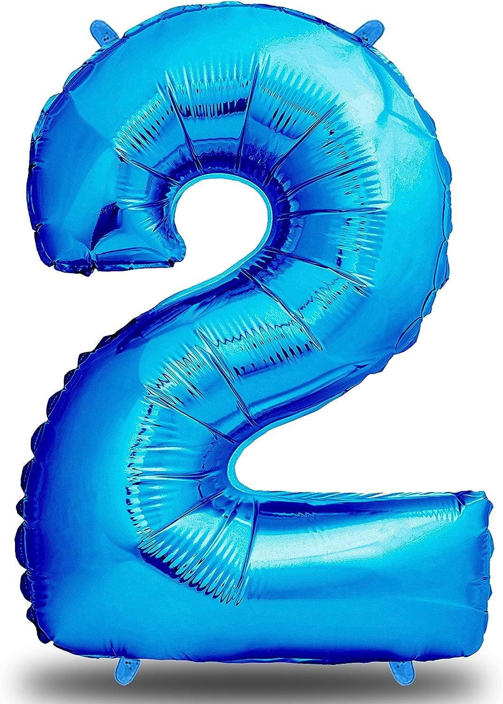 envami Globos de Cumpleãnos 2 Azul I 101 CM Globo 2 Años I Globo Numero 2 I Decoracion 2 Cumpleaños Niños I Globos Numeros Gigantes para Fiestas I Vuelan con Helio