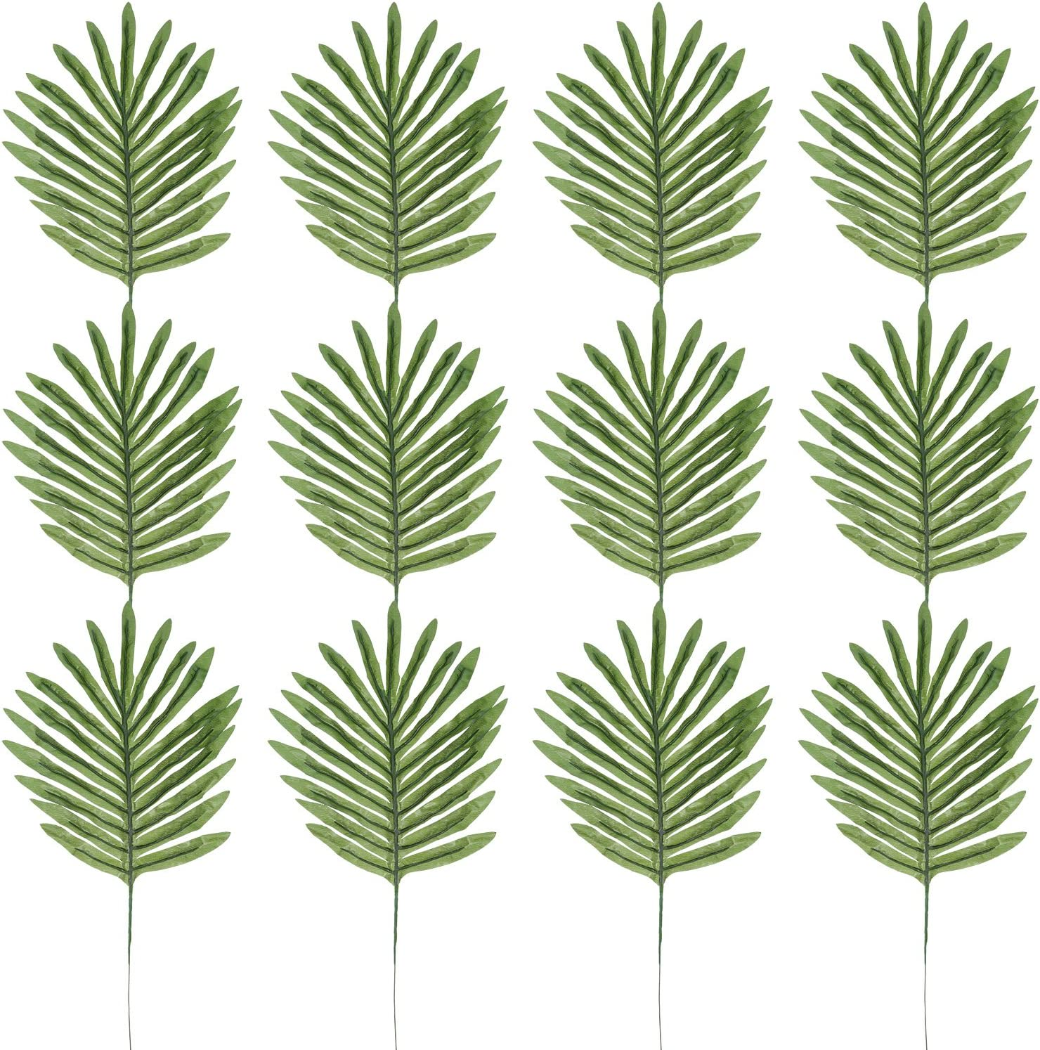 30 Pack Artificial Tropical Silk Palm Leaves for Home Decoration and Hawaiian Luau Party Table Decoration