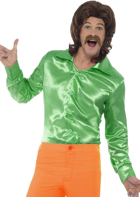 Men/'s Disco Shirt Shiny Long Sleeve Adult Costume Accessories 60s70s Fancy Dress