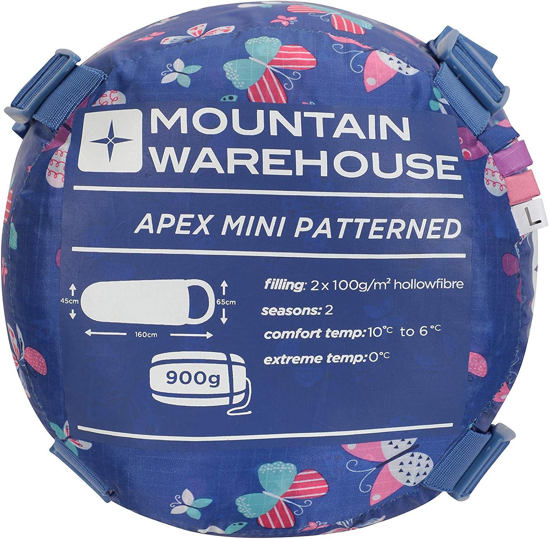 Peso Ligero con Aislamiento de Fibra Hueca Mountain Warehouse Minisaco de Dormir Estampado Apex para ni/ños para acampadas con ni/ños Morado Talla /única