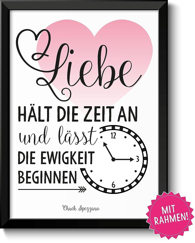 Liebe hält die Zeit an - Bild mit Rahmen - Geschenkidee Frau Mann ...