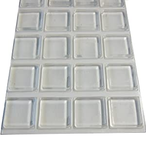 Rubber Bumpers Self Adhesive Large | Rubber Pads for Cutting Board Feet | 1 Inch Square Clear Rubber Bumper Pads - 20 Pack