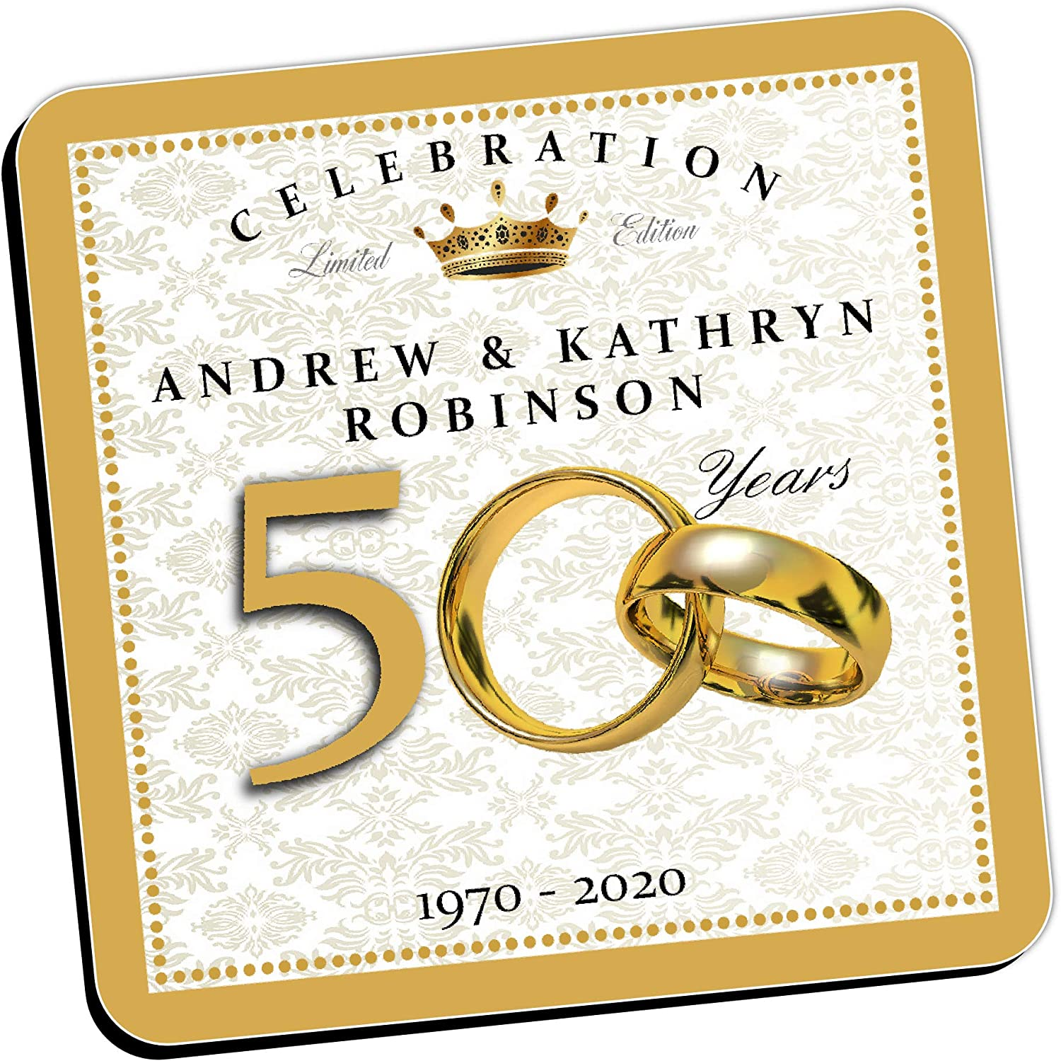 Personalised Coasters Golden 50th Wedding Anniversary Wine Drinks Tea Coffee Mat Qty 1 Home Gift Present Ideas For Him Her N3 Amazon Co Uk Kitchen Home