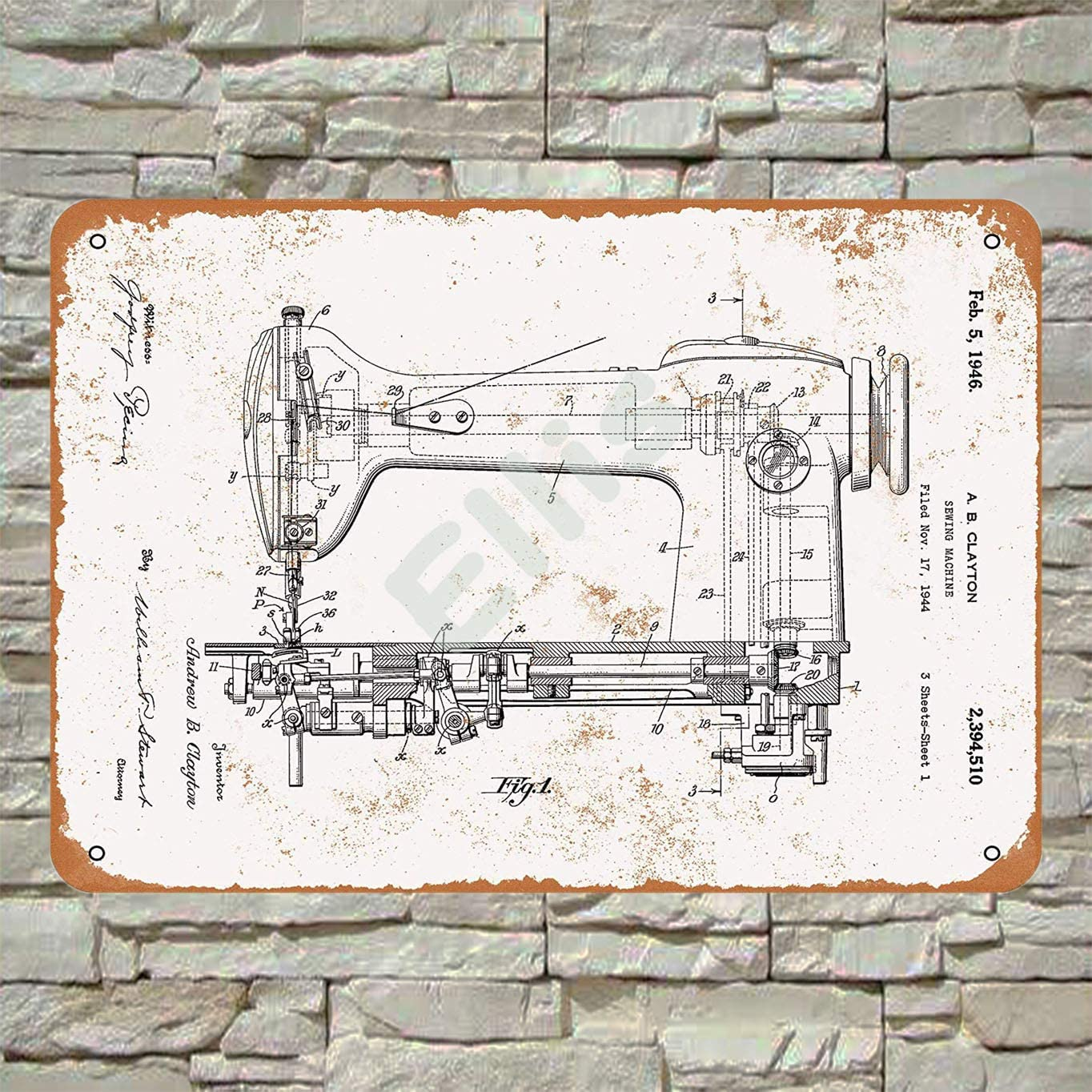 Ellis 1946 Máquina de Coser Patente Vintage Retro Metal Estaño ...