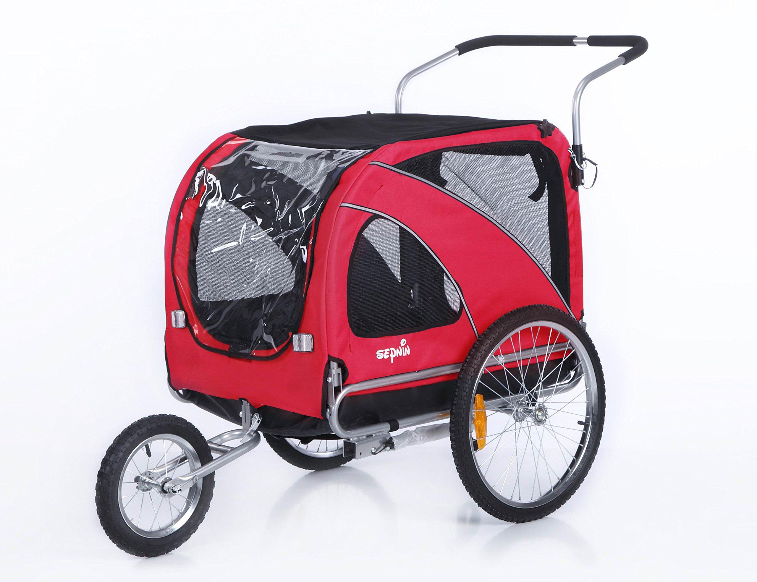Sepnine 2 in1 large pet dog bike trailer bicycle trailer and stroller jogger 10202 (Red)