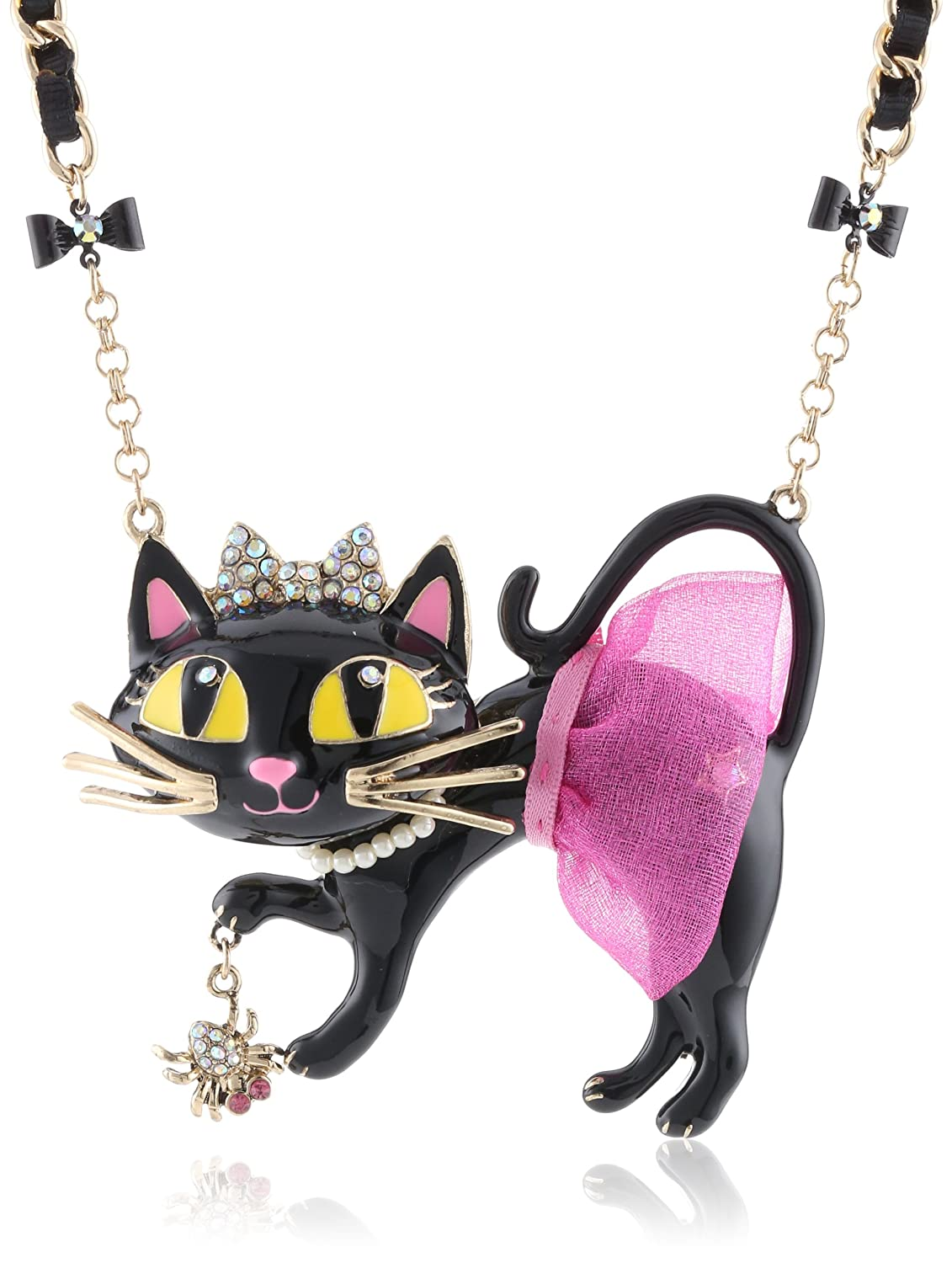 Betsey Johnson Womens Enchanted Forest Cat Tutu Pendant Necklace Pink Pendant Necklace