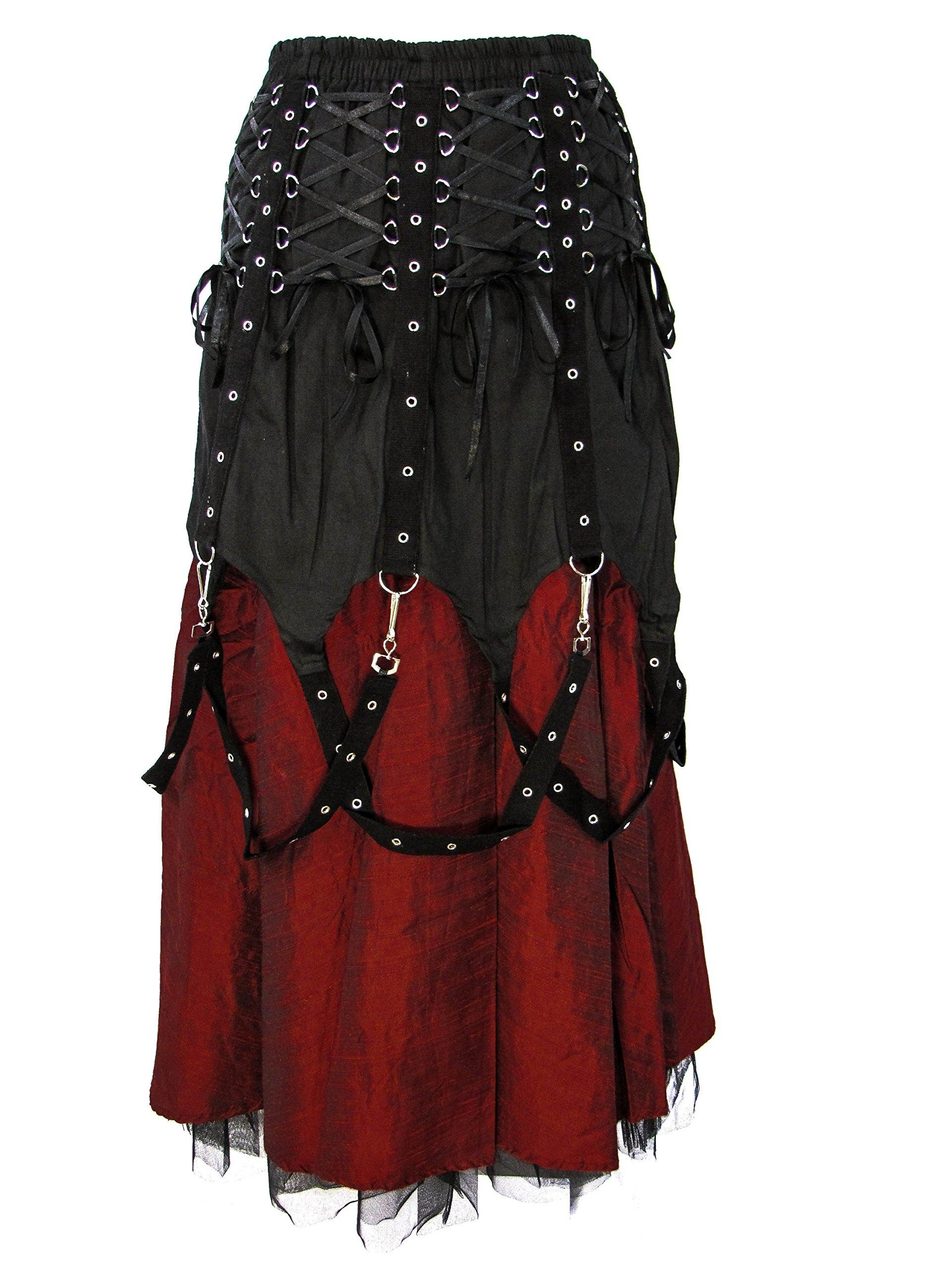 Dark Star Black Red Gothic Medieval Vampire Punk Chains Long Skirt M-2X Plus Size