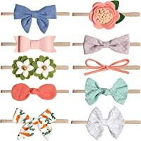 Baby Girl Headbands and Bows Flower,Newborn Headbands,Soft cute headband, 10 Pack Hair Bows Accessories for Newborn Infant Toddler Gift(Style 1)