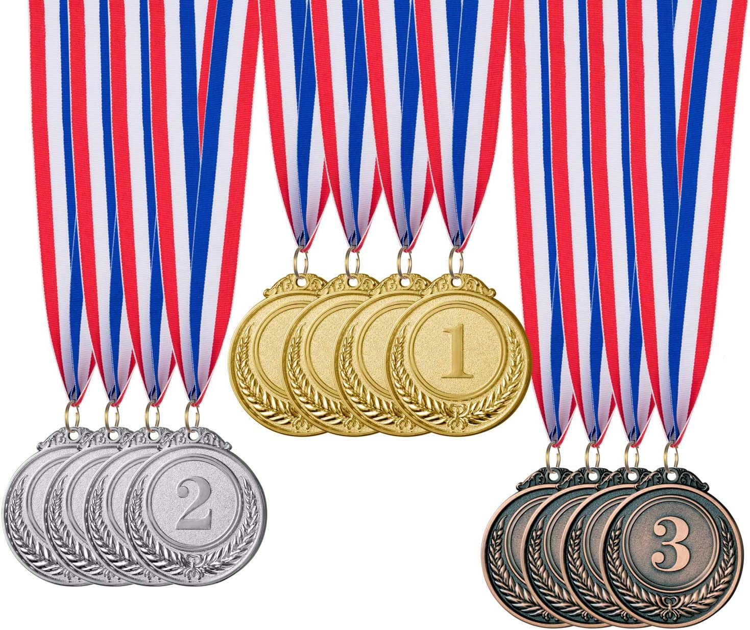 Favide 12 Pieces Gold Silver Bronze Award Medals-Winner Medals Gold Silver Bronze Prizes for Competitions, Party,Olympic Style, 2 Inches