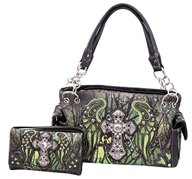 0a90866b74 Western Camo Rhinestone Cross Wings Concealed Carry Camouflage Handbag and  Crossbody Wallet (Green)