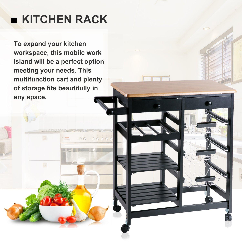 Merax WF036471BAA 26'' Portable Storage Island Kitchen Trolley Drawers, Microwave Cart, Black by Merax (Image #4)