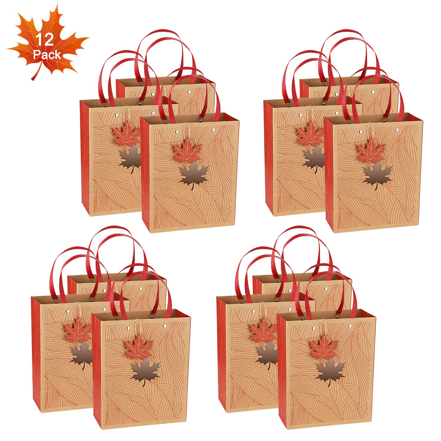 Gift Wrap Bags, Kraft Paper Gift Bags with Handles by OceLander for Shopping, Birthday, Weddings and Holiday Presents, Set of 12 Pack Medium Size 10.6x8.6x4.25 inches