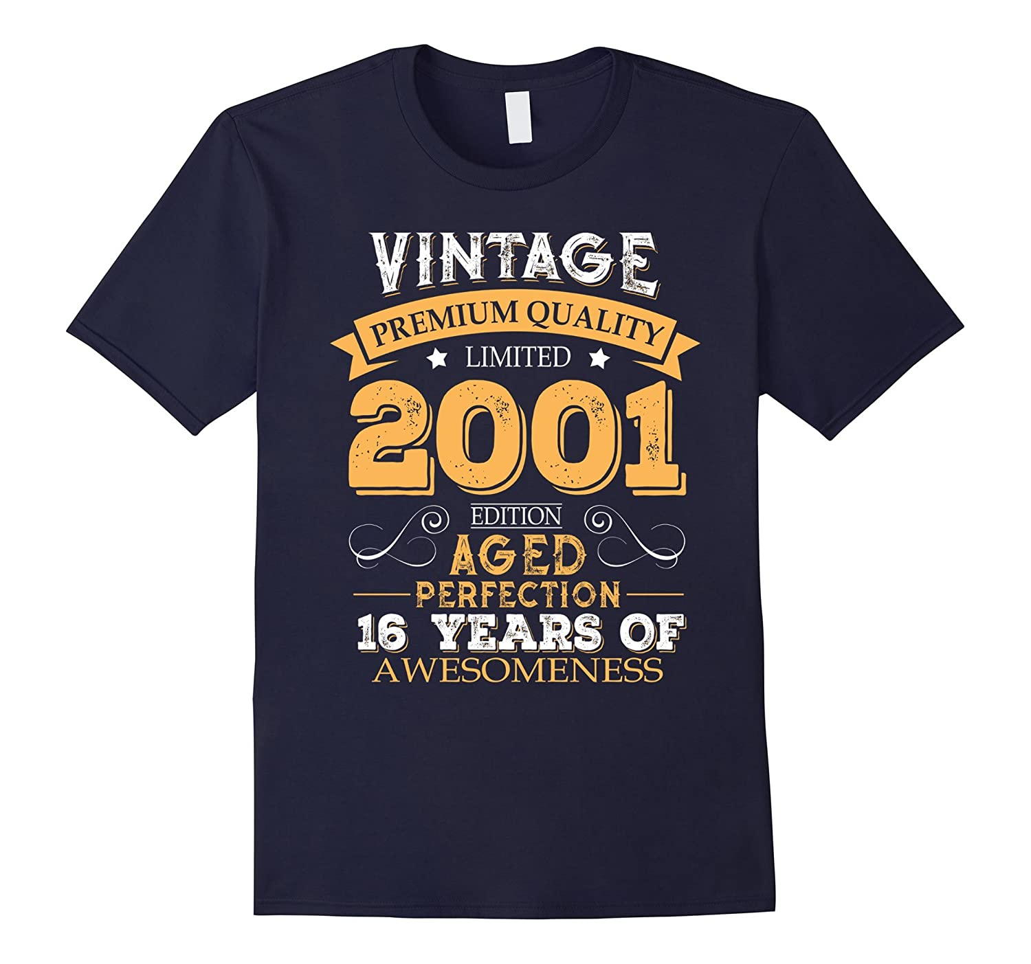 Vintage Born in 2001 16th Birthday 16 Years Old Awesome Gift-FL