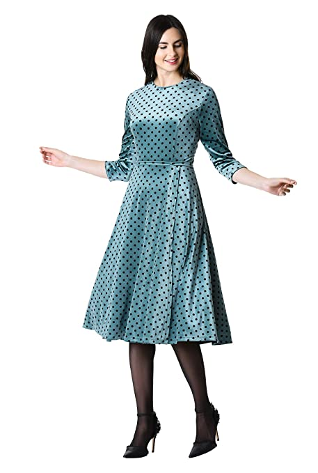 1950s Dresses, 50s Dresses | 1950s Style Dresses eShakti Womens Polka dot Print Shimmer Velvet Dress $104.95 AT vintagedancer.com