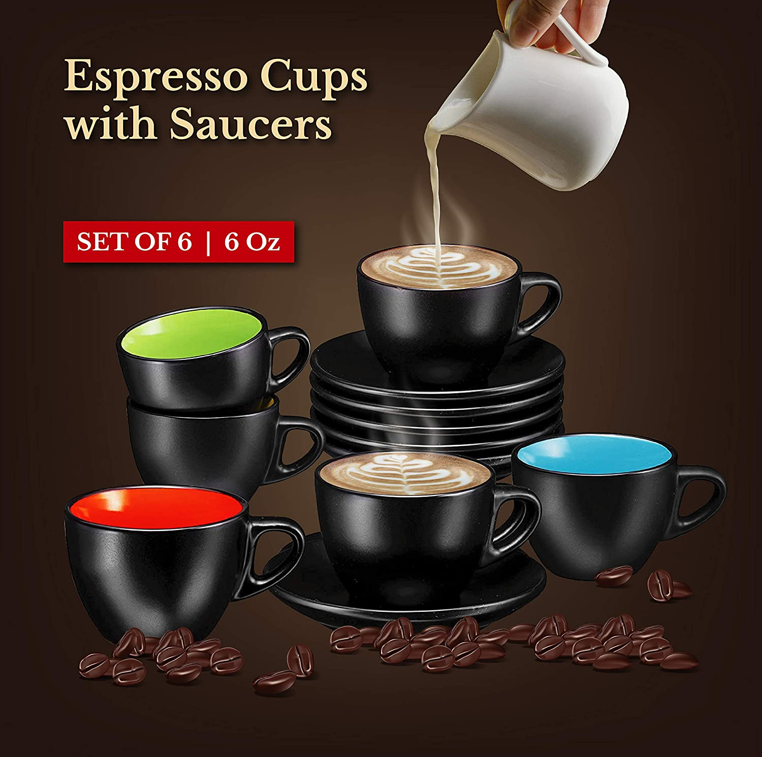 Espresso Cups with Saucers by Bruntmor - 6 ounce - Set of 6, Matte Black