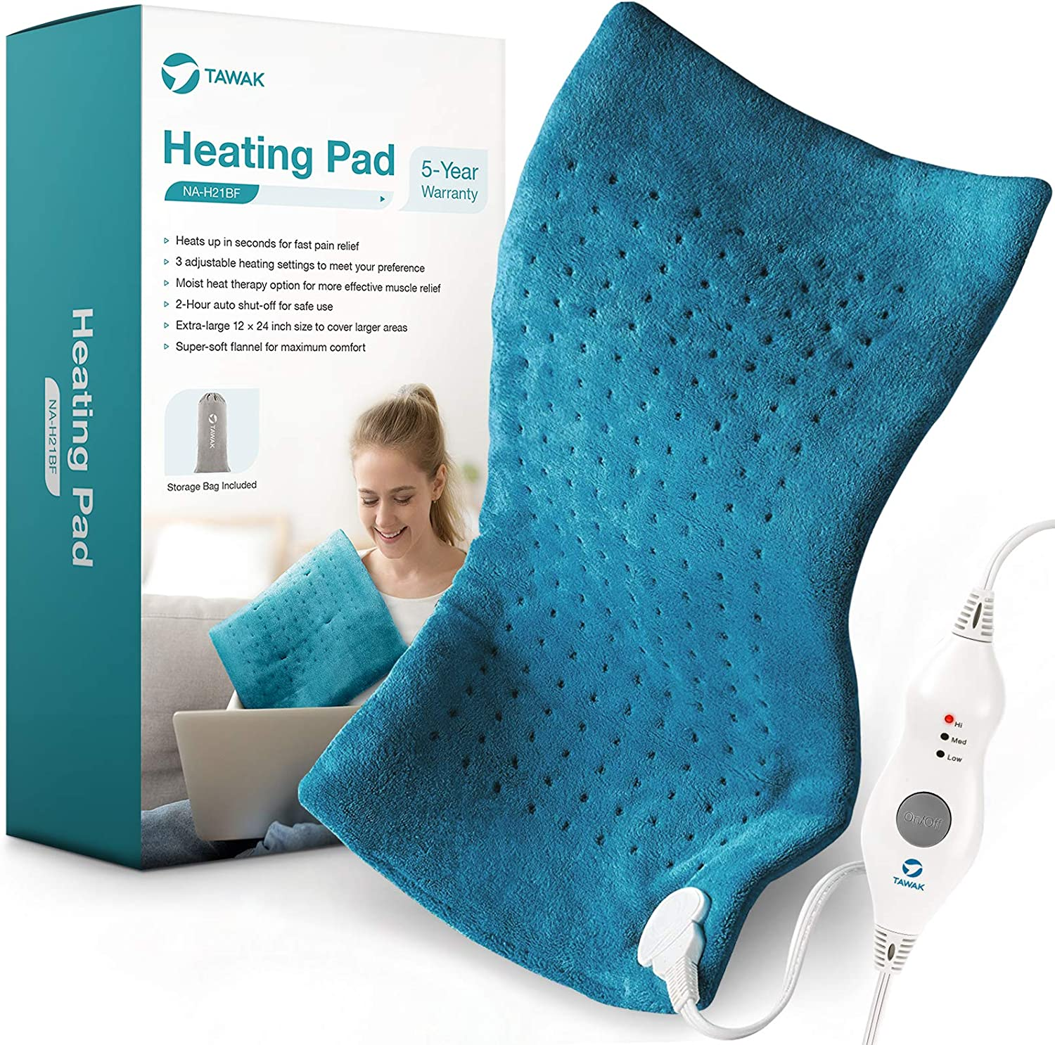 Heating Pad, TAWAK Upgrade Electric Fast Heating Pad for Pain Relief, Dry&Moist Heat Therapy Option Heating Pad with Adjustable Temperature Setting and 2 Hours Auto-Off, Large Size Soft Heating Pad