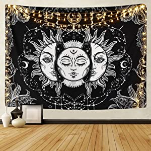 Likiyol Sun and Moon Tapestry Burning Sun with Star Tapestry Psychedelic Tapestry Black and White Mystic Tapestry Wall Hanging