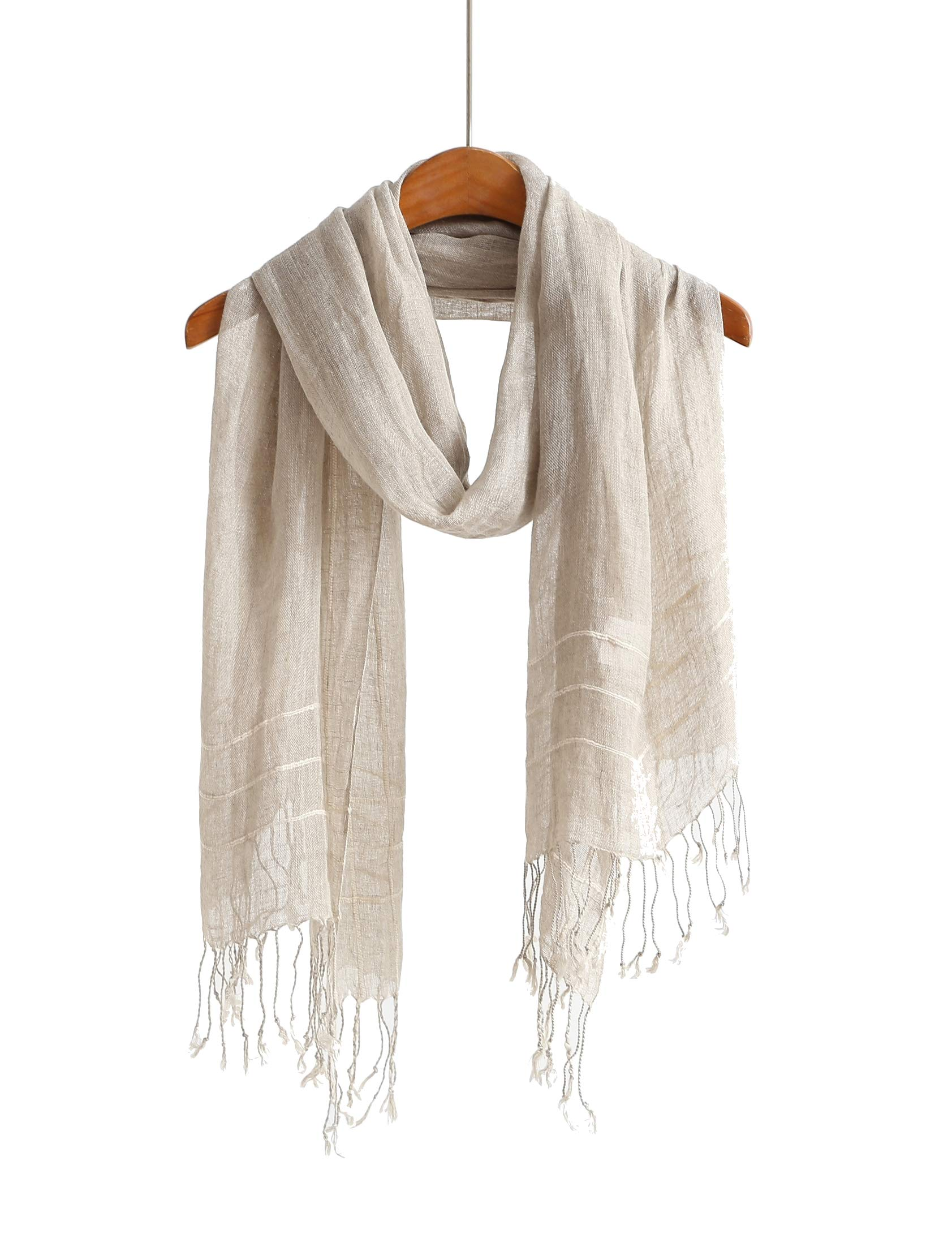 Lightweight Cotton Scarf Scarfs For Women Shawls And Wraps Scarves For Men (Linen Stripe) by Jeelow