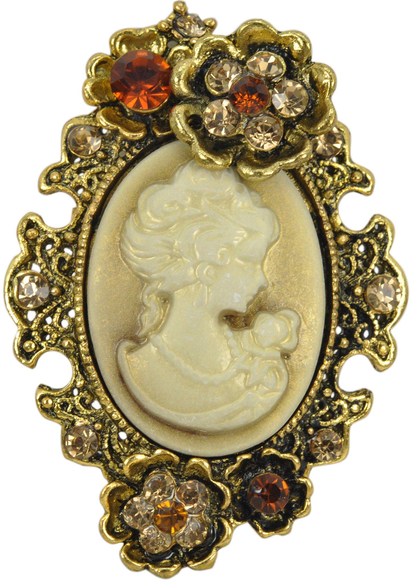 Gyn&Joy Old Style Cameo Lady Maiden Flower Crystal Rhinestone Pin Brooch BZ004