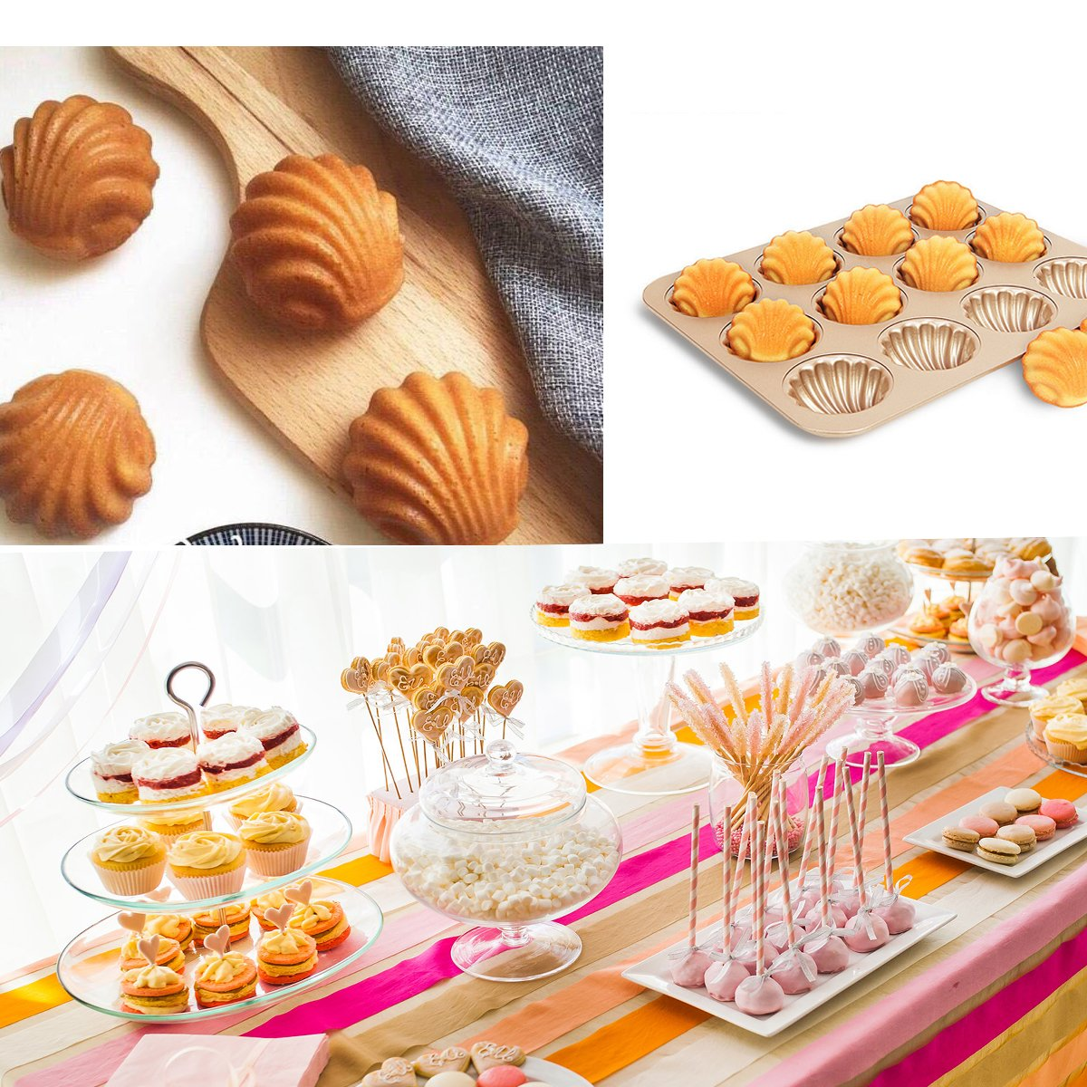 Madeleine Pans Baking Shell Mould Oversized Madeleine Cake Pan 12-cup Non Stick Gold Bakeware(madeleine pan) by Monfish